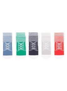 Boys Multicoloured Trompe L'oeil Baseball Socks 5 Pack (0-24 months)