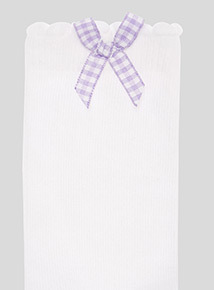 5 Pack Lilac Gingham and Heart Trim Socks (6 infant-5.5 adult)