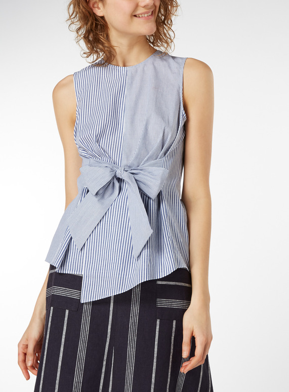 Pinstripe Bow Front Shirt