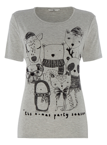 Grey Christmas Party Animals T-Shirt
