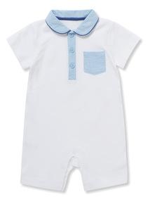 White Pique Romper (Newborn-12months)