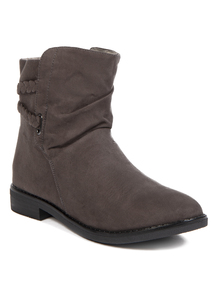 Online Exclusive Grey Plait Strap Ankle Boots
