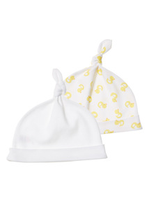 Unisex White Hats 2 Pack (0-24 months)