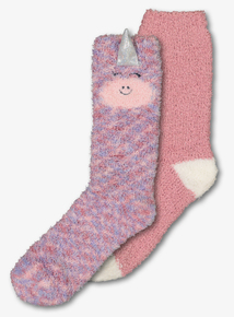Pink Unicorn Cosy Socks 2 Pack