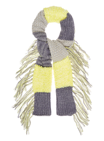 Grey Knitted Patchwork Scarf