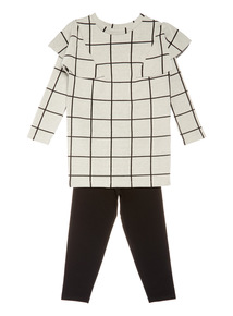 Cream Check Dress and Legging Set (3-14 years)