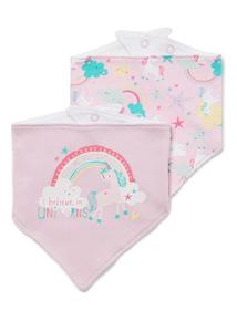 2 Pack Unicorn Hanky Bibs
