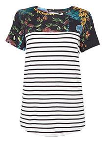 Multicoloured Floral Stripe T-shirt