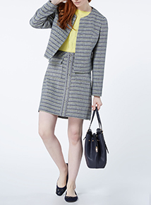 Multicoloured Textured Collarless Jacket