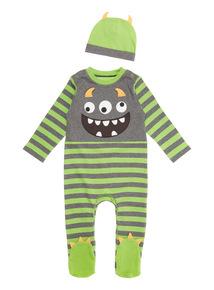 Green Halloween Monster Sleep Suit (0-12 months)