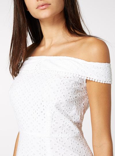 White Bardot Schiffli Dress