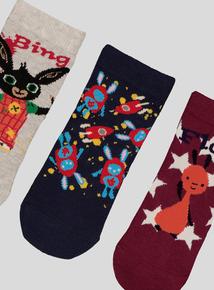 Bing Multicoloured Character Socks 3 Pack (3 infant-3.5 adult)