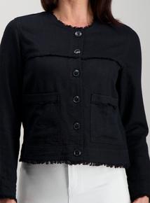f98b74a5cbc7f Black Collarless Linen Jacket