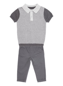 Boys Grey Polo And Chinos Set (0-24 months)