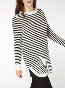 Stripe Curved Hem Tunic