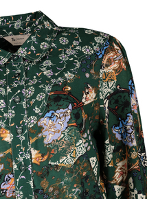 PETITE Green Floral Western Tie Front Shirt