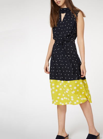 Spot Print Contrast Woven Hem Dress