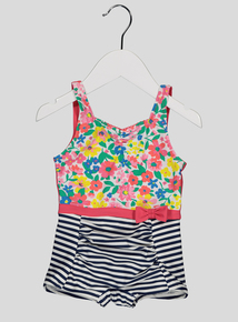Multicoloured Stripe and Floral Swimming Costume (3-12 years)