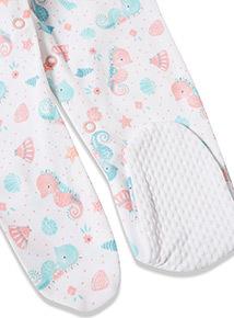 3 Pack Multicoloured Seahorse Sleepsuits (Newborn-24 months)