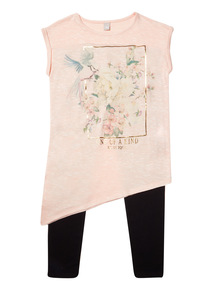 Pink Floral Snit Top And Leggings Set (3-12 years)