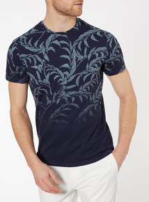 Blue Dip Dye Palm Print T-Shirt
