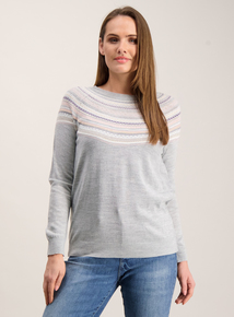 Online Exclusive Grey Fairisle Yoke Jumper