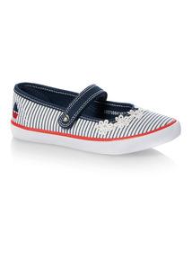 Girls Nautical Mary Jane Canvas Sandals