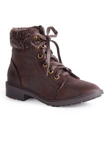 Brown Knitted Detail Lace Up Ankle Boot