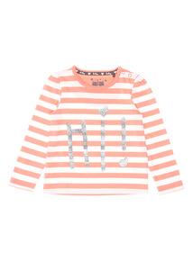Coral Slogan Stripe Tee (0-24 months)