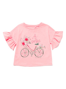 Coral Sequin Bike Top (3-14 years)