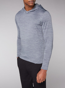 Admiral Grey Brushed Back Hooded Jumper