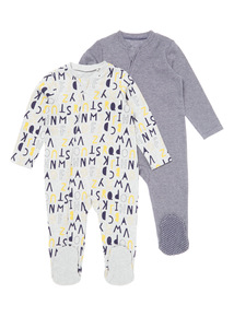 2 Pack Multicoloured Zip Up Sleepsuit (0-24 months)