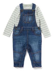 Multicoloured Denim Dungarees and T-Shirt Set (0-24 months)