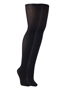 Black 40 Denier Silky Opaque Lycra Tights 2 Pack