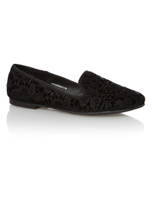 Black Embroidered Slipper Cut Shoes