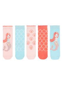 Multicoloured Mermaid Socks 5 Pack