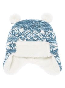 Blue Fairisle Trapper Hat (Newborn-12 months)