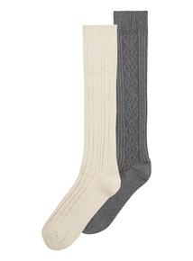 Oatmeal Cable Knee High Socks 2 Pack