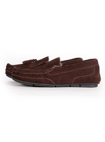 Brown Suede Tassel Moccasin Slipper