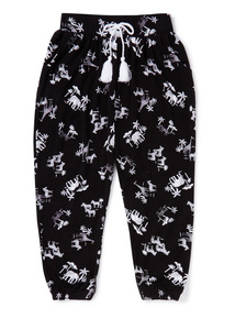 Black Printed Hareem Trousers (3-14 years)