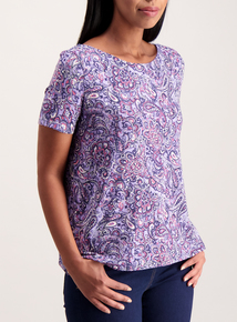 Multicoloured Paisley Print Slash Neck T-Shirt