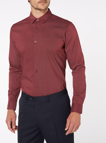 Burgundy Polka Dot Slim Fit Shirt