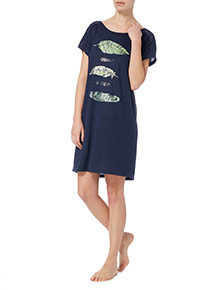 Navy Feather Print Nightshirt