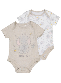 Cream & Oatmeal Dumbo Bodysuits 2 Pack (0-24 months)