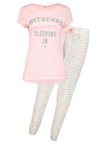 Pink 'Weekend' Logo Pyjamas