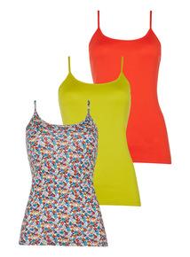 Multicoloured Urban Printed Vests 3 Pack