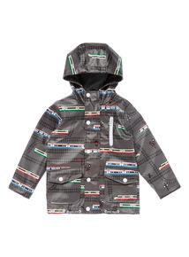 Boys Grey Train Print Fisherman Jacket (9 months - 6 years)