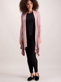 Pink Rib Longline Cardigan