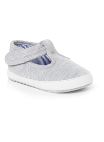 Grey T-Bar Shoes (0-24 months)