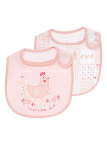 Girls Pink Layette TPU Dribble-Proof Bib 2 Pack